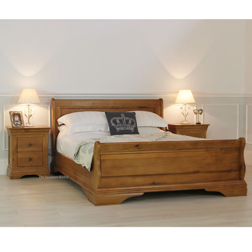 French Farmhouse Oak 6ft Super King Size Sleigh Bed
