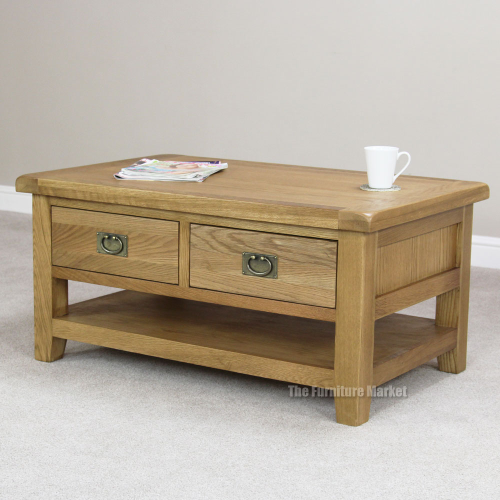 Cheshire Oak 2 Drawer Coffee Table Living Room Storage Rustic Furniture Oak20
