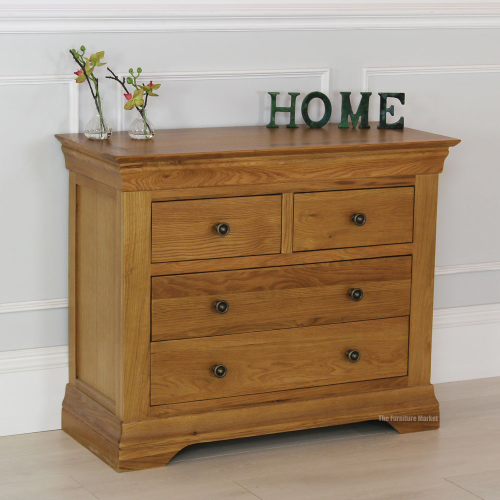 farmhouse oak 2 over 2 chest bedroom storage low rustic furniture