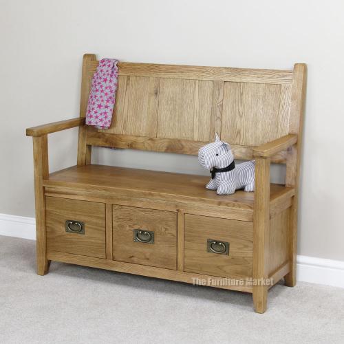 Cheshire Oak Monks Bench Hall Seating Shoe Storage Rustic Furniture Oak41 Ebay