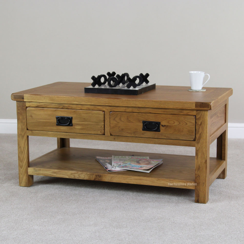 Rustic Oak Rectangle Coffee Table With Shelf 2 Drawers Solid Storage Rs21 Ebay