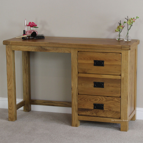 Bedroom Office Furniture: Rustic Oak Pedestal Dressing Table