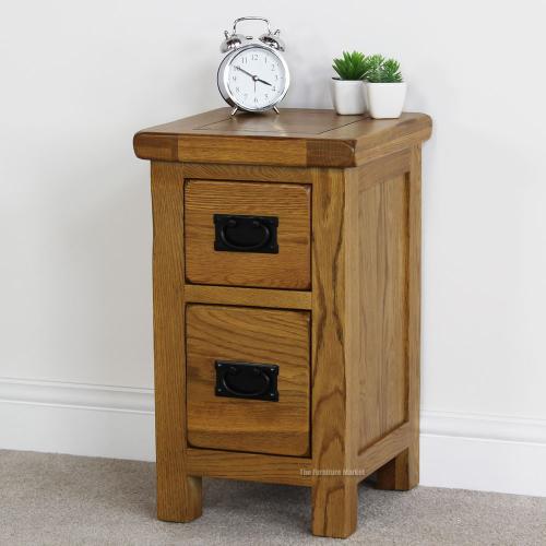 Rustic Oak 2 Drawer Slim Bedside Table Solid Bedroom