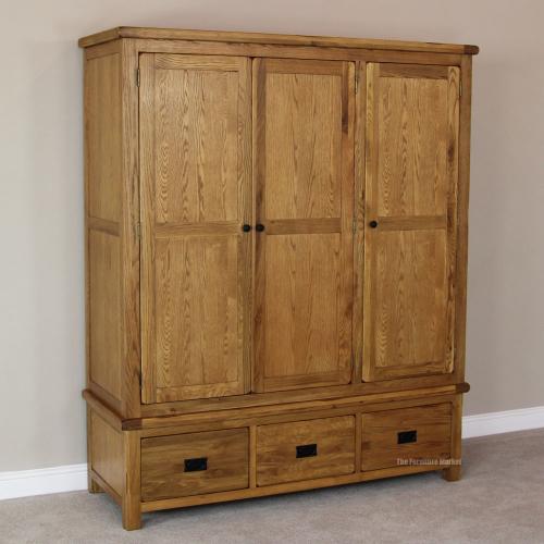 Rustic Solid Oak Triple Wardrobe With Drawers 3 Door Bedroom Furniture RS