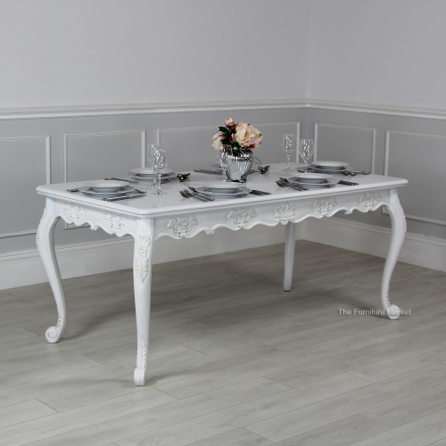 White Painted Rectangle Dining Table Kitchen Furniture SAN17 W