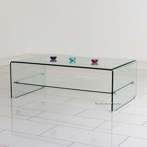 Geo Glass Clear Rectangular Coffee Table With Shelf Curved Toughened Safety Gg92 Ebay