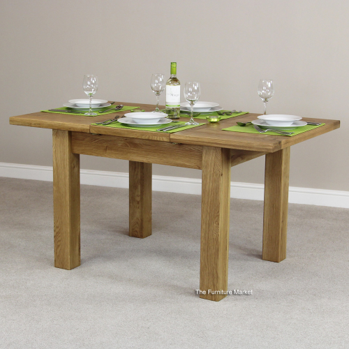 New england oak small extending dining table solid 4 6 for Small 4 person dining table