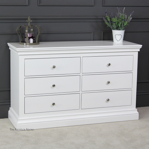 Chelsea White Painted 6 Drawer Wide Chest Bedroom