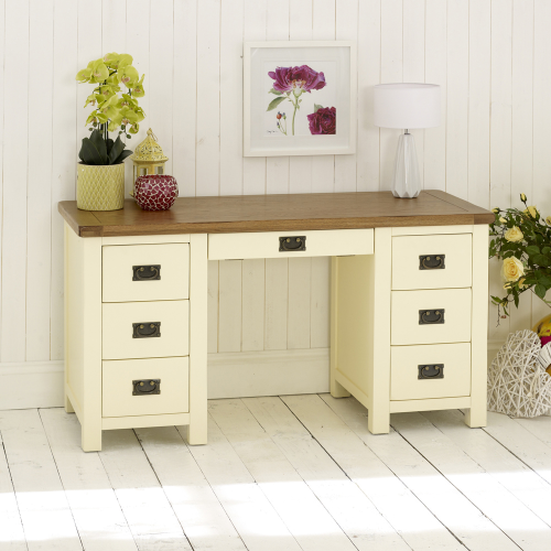 Cream Painted Rustic Oak Large Double Pedestal Desk