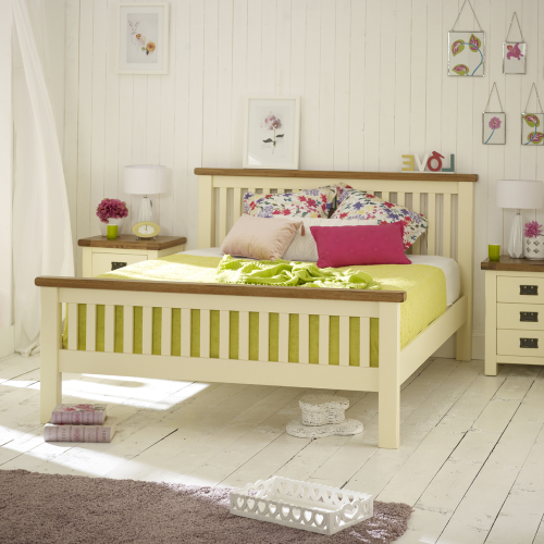 cream painted rustic oak 6ft super king size bed high