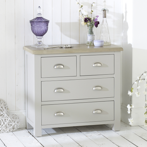 Grey Stone Painted 2 Over 2 Drawer Chest With Oak Top
