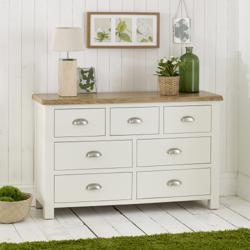 cotswold cream painted 7 drawer multi chest with oak top