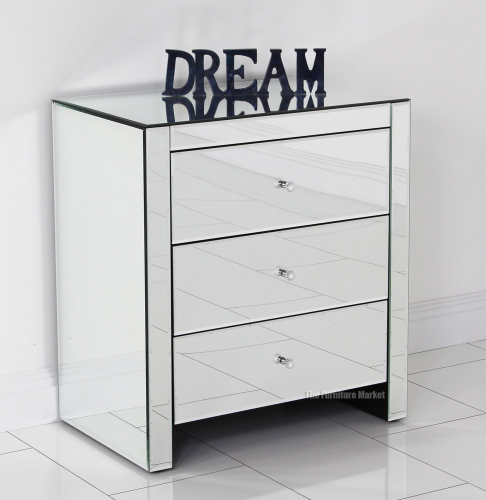 Venetian Mirrored Glass 3 Drawer Wide Bedside Table Bedroom Furniture Ven53 Ebay