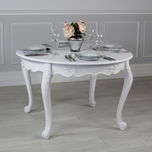 French chateau white painted round dining table 4 person for 4 person dining table