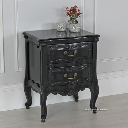 black painted 2 drawer carved bedside table bedroom furniture san55b