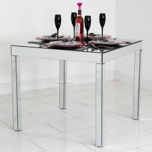 Venetian mirrored glass square dining table 4 seater for 10 seater glass dining table