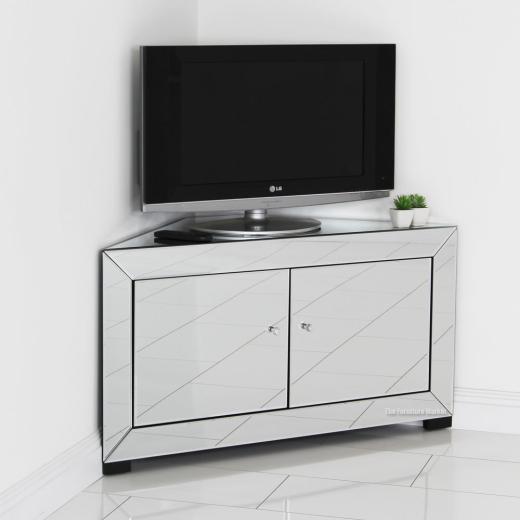 venetian mirrored corner tv cabinet widescreen plasma flatscreen unit tfm12. Black Bedroom Furniture Sets. Home Design Ideas
