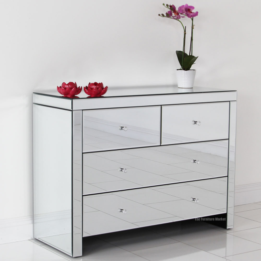 venetian mirrored glass 2 over 2 drawer chest bedroom furniture tfm3 ebay. Black Bedroom Furniture Sets. Home Design Ideas