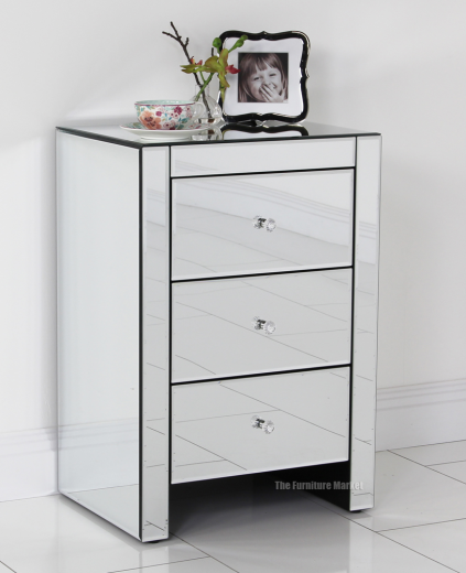 mirrored glass 3 drawer bedside lamp table bedroom furniture ven07