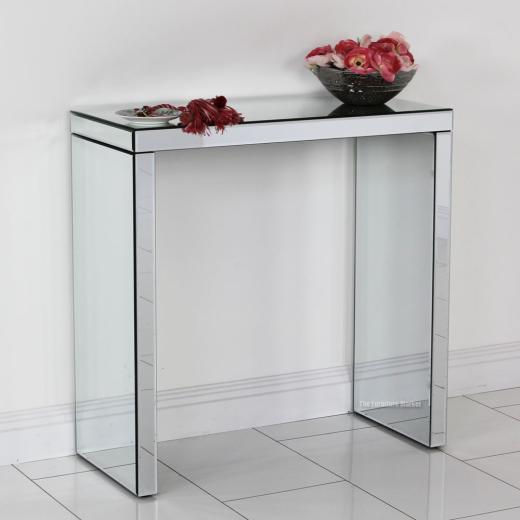 Venetian compact mirrored glass console hall table - Modern console table with mirror ...