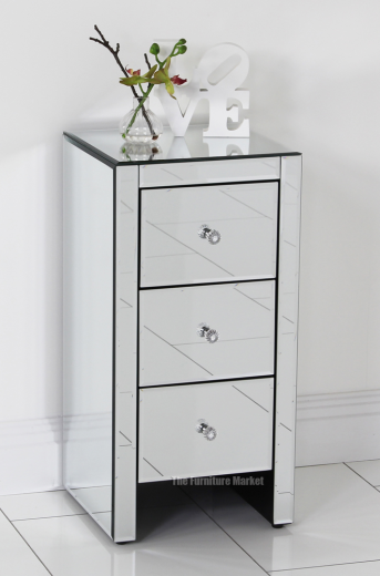 mirrored glass 3 drawer slim bedside table bedroom furniture ven52