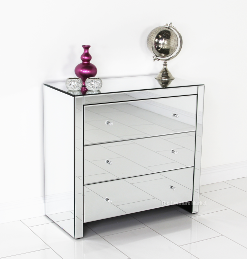 Venetian Mirrored Compact 3 Drawer Chest