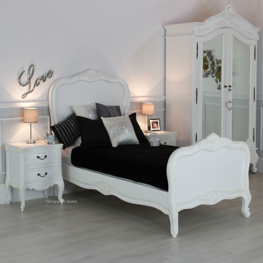 French Chateau White Single 3ft Painted Panel Bed