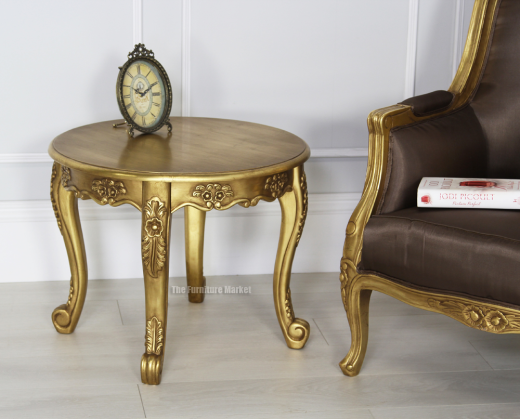 French Gold Leaf Small Round Coffee Table Solid Furniture Living Room San38 G Ebay