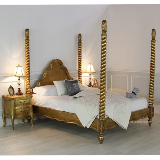 French gold leaf 5ft four poster king size bed bedroom - Four poster king size bedroom sets ...
