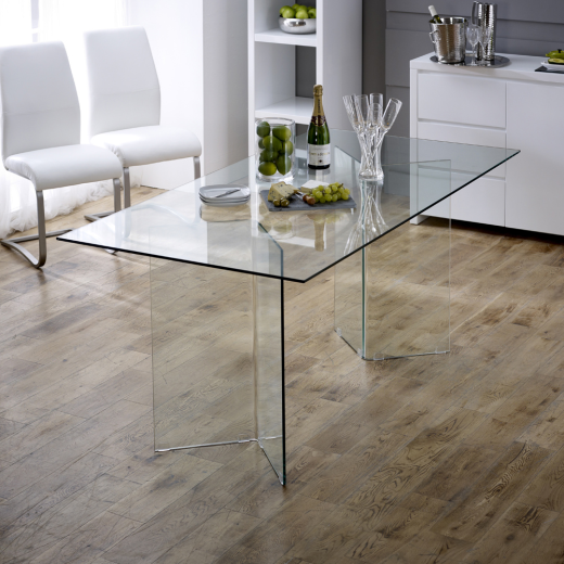 Geo glass clear 6 seater rectangle dining table modern home furniture gg73 ebay Geo glass coffee table