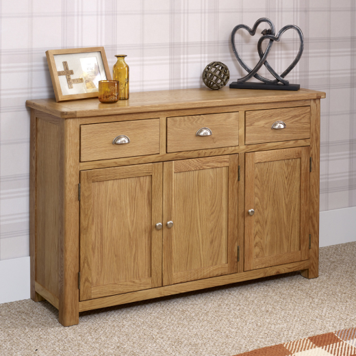 Kent Oak Large 3 Drawer 3 Door Sideboard Home Furniture Living Room Hall KT