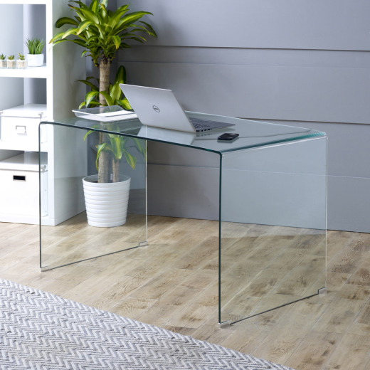 Geo glass large clear glass desk toughened tempered bent safety office gg90 ebay Geo glass coffee table