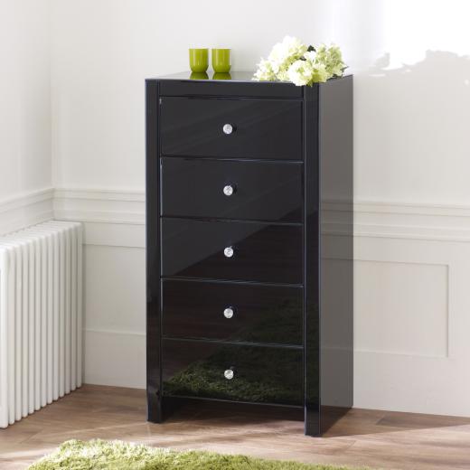 venetian black glass 5 drawer tallboy chest of drawers mirrored