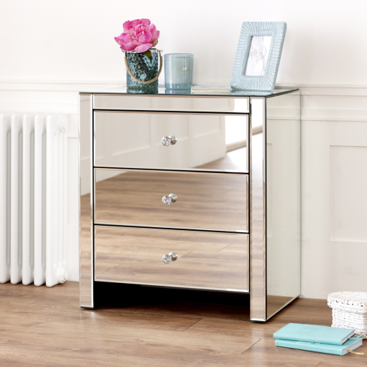 mirrored glass 3 drawer wide bedside table bedroom furniture ven53