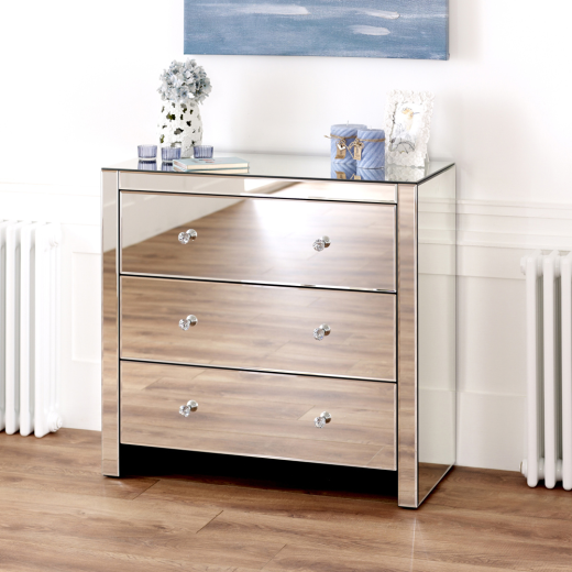 Venetian Mirrored Glass Compact 3 Drawer Chest Bedroom Furniture Ven91 Ebay