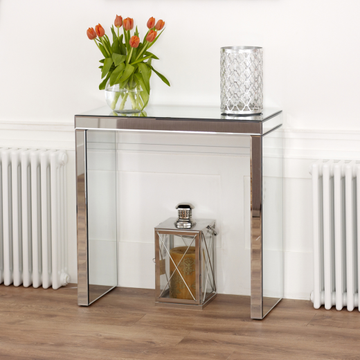 Venetian Compact Mirrored Glass Console Hall Table