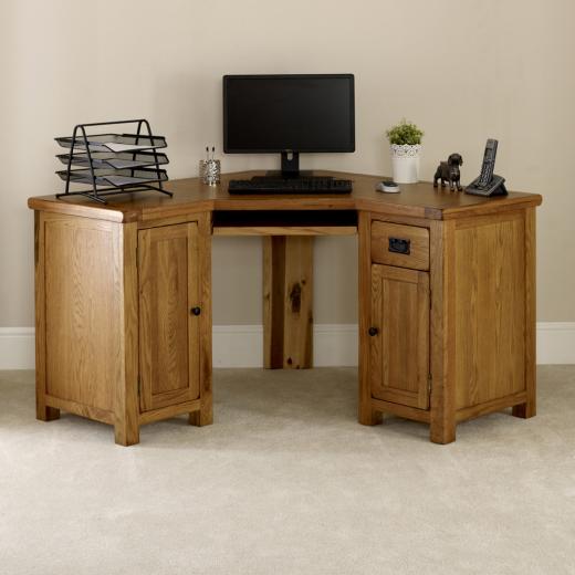 Rustic oak corner desk home furniture office study large for Large corner desk home office