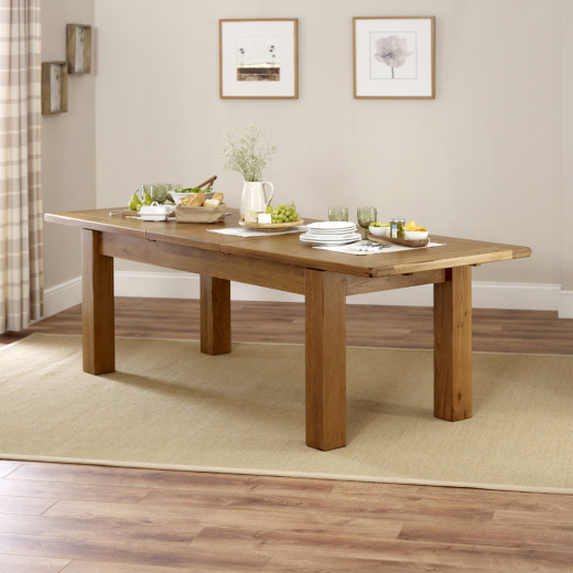 rustic oak large extending dining table seat 8 10 people country furniture rs17 ebay. Black Bedroom Furniture Sets. Home Design Ideas