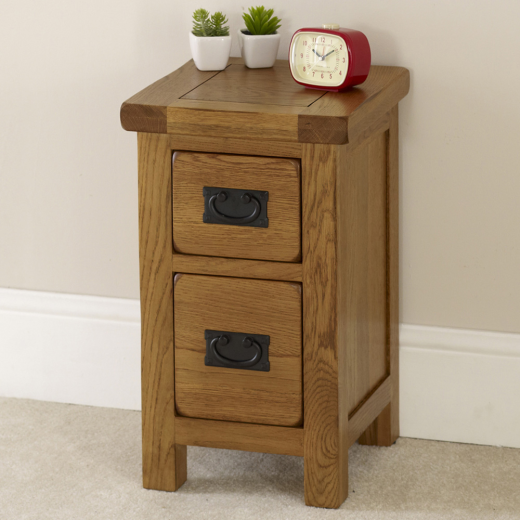 Rustic Oak 2 Drawer Slim Bedside Table Solid Bedroom  : 3003902 from www.ebay.co.uk size 520 x 520 png 469kB