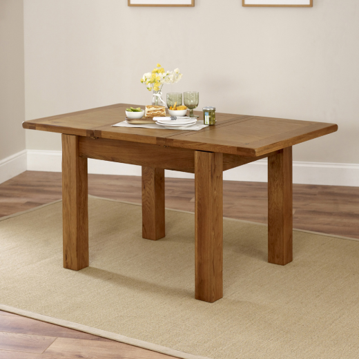 Rustic Oak Small Extending Dining Table Seats 4 6 People Dining Furniture Rs38 Ebay