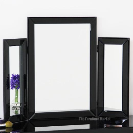 Venetian Black 3 Way Dressing Table Mirror Mirrored