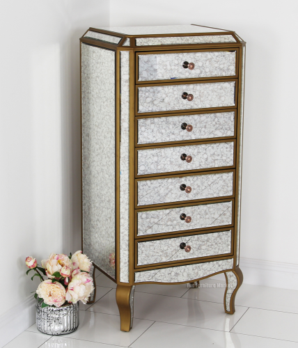 Antique Venetian Mirrored Glass 7 Drawer Bedroom Storage