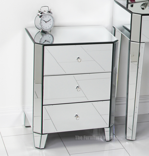 mirrored glass 3 drawer bedside bedroom lamp furniture ven10 ebay