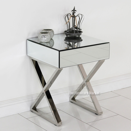 style x frame mirrored glass bedside table bedroom furniture ven26