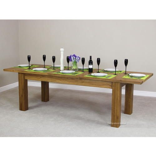 Rustic Oak Large Extending Dining Table Seat 8 10 People