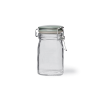 Glass Storage Jar with Spring Top Shutter Blue Ceramic Lid, 250ml