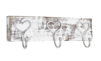 Wooden Block with 3 heart hooks