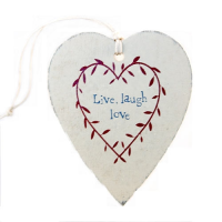 East of India Cut Out Wooden Heart With Live Love Laugh