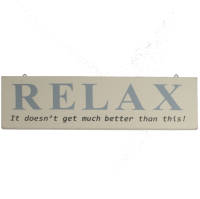 Shoeless Joe Relax Sign