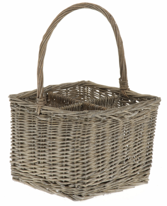 Tobs Grey Wash Willow  Basket for 4 Bottles